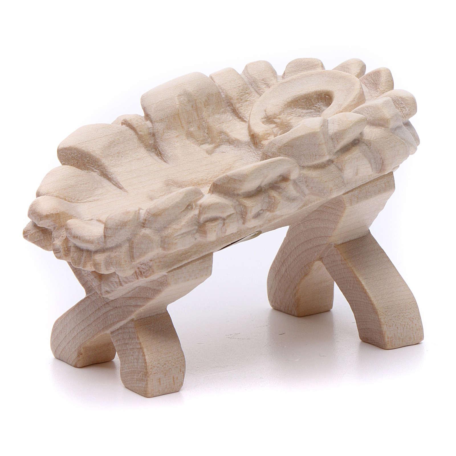 Baby Jesus cradle, 7cm in Valgardena wood, natural wax finish 3