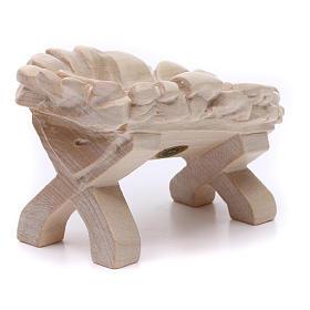 Baby Jesus cradle, 7cm in Valgardena wood, natural wax finish s3