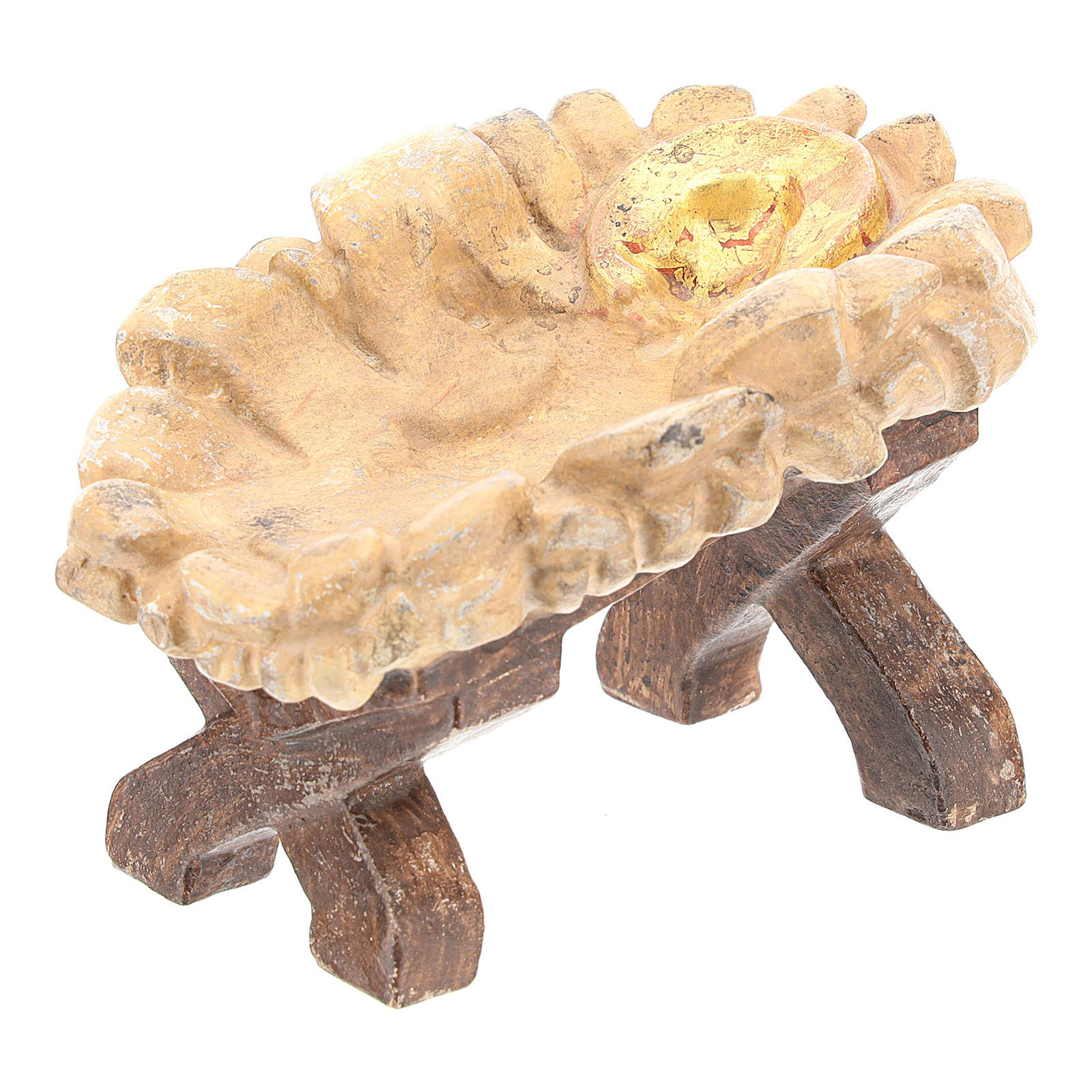 Baby Jesus cradle in Valgardena wood, old antique gold finish 3
