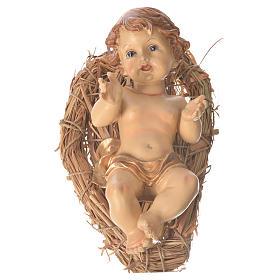 Gesù bambino culla paglia altezza 25 cm resina s1