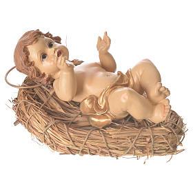 Gesù bambino culla paglia altezza 25 cm resina s3
