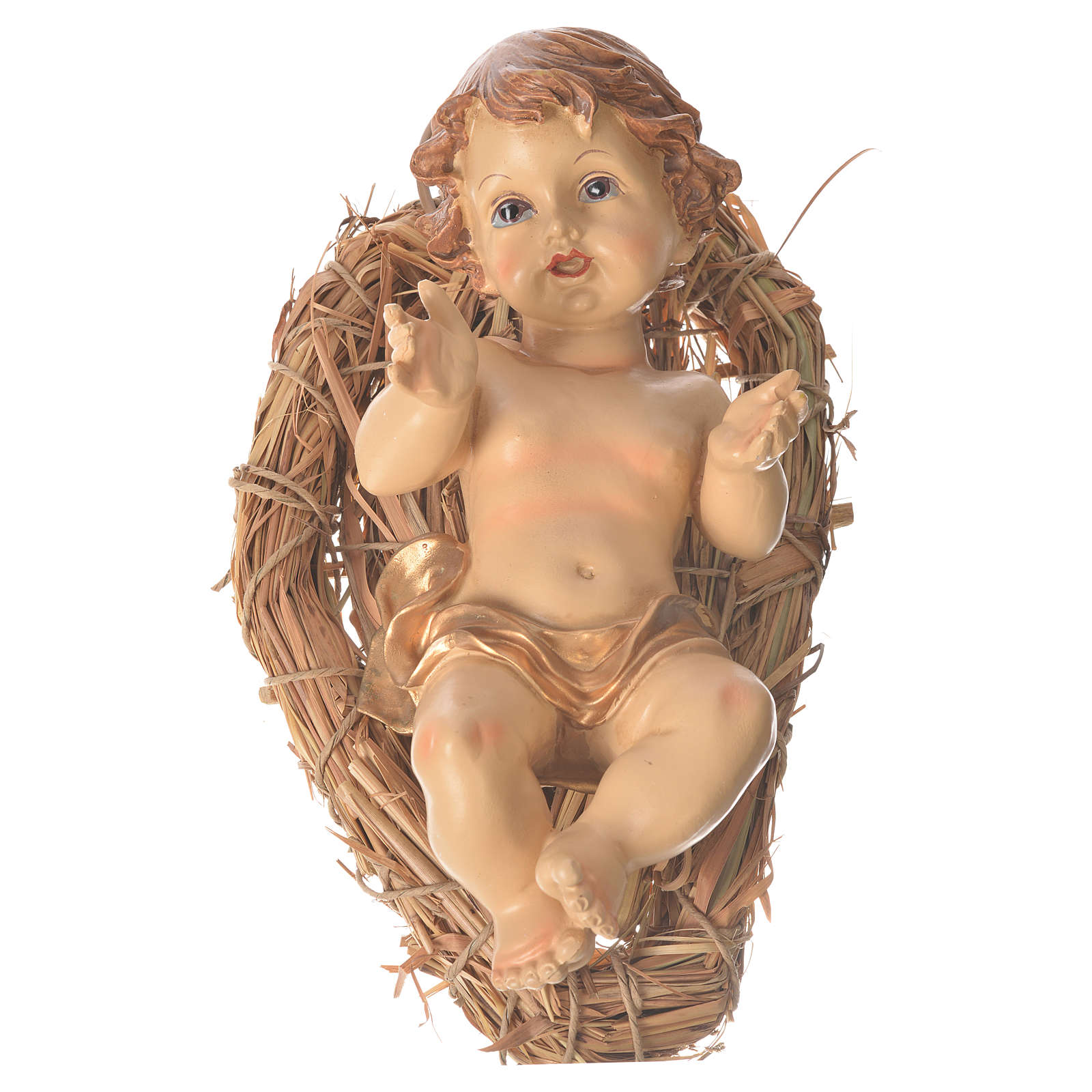 Baby Jesus resin figurine laying on a straw cradle, 25cm 3
