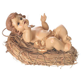 Baby Jesus resin figurine laying on a straw cradle, 25cm s3