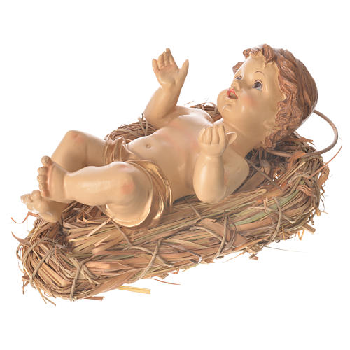 Baby Jesus resin figurine laying on a straw cradle, 25cm 2