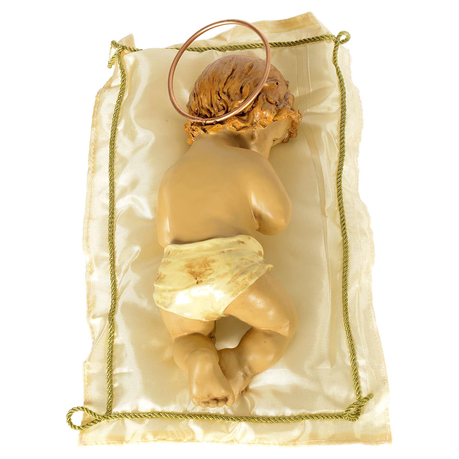 Enfant Jésus avec coussin et auréole h 25 cm résine 3