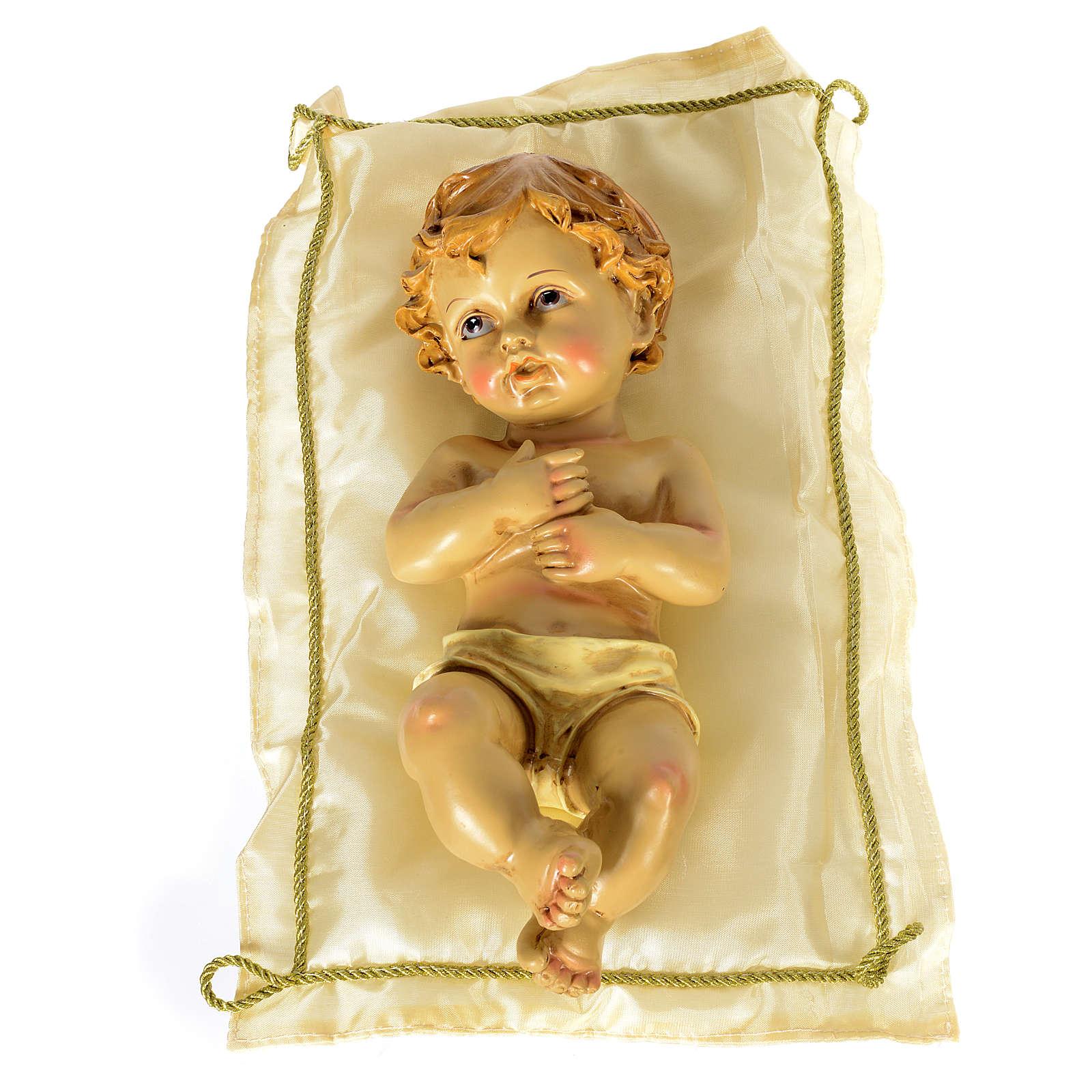 Bambinello con cuscino e aureola altezza 25 cm resina 3