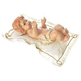 Bambinello con cuscino e aureola altezza 25 cm resina s3