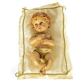 Bambinello con cuscino e aureola altezza 25 cm resina s1