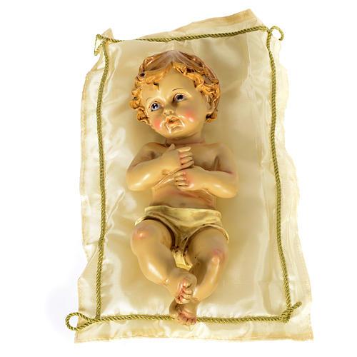 Bambinello con cuscino e aureola altezza 25 cm resina 1