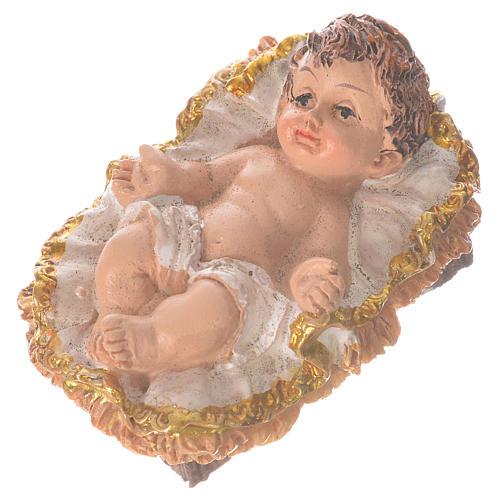 Bambinello con culla altezza 6 cm resina 2
