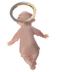 Jesuskind aus Plastik mit goldene Aureole 5cm s4
