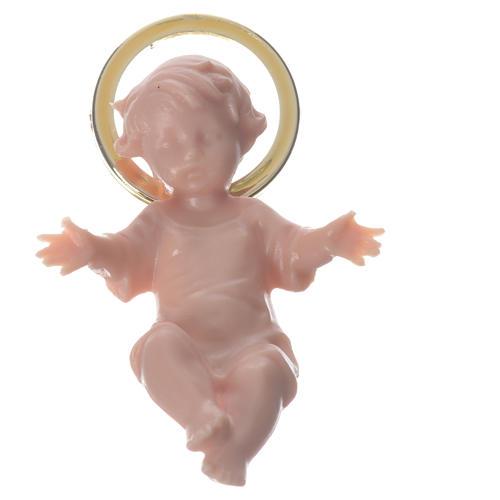 Jesuskind aus Plastik mit goldene Aureole 5cm 3