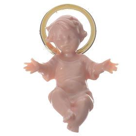 Gesù bambino 5 cm plastica aureola dorata s1