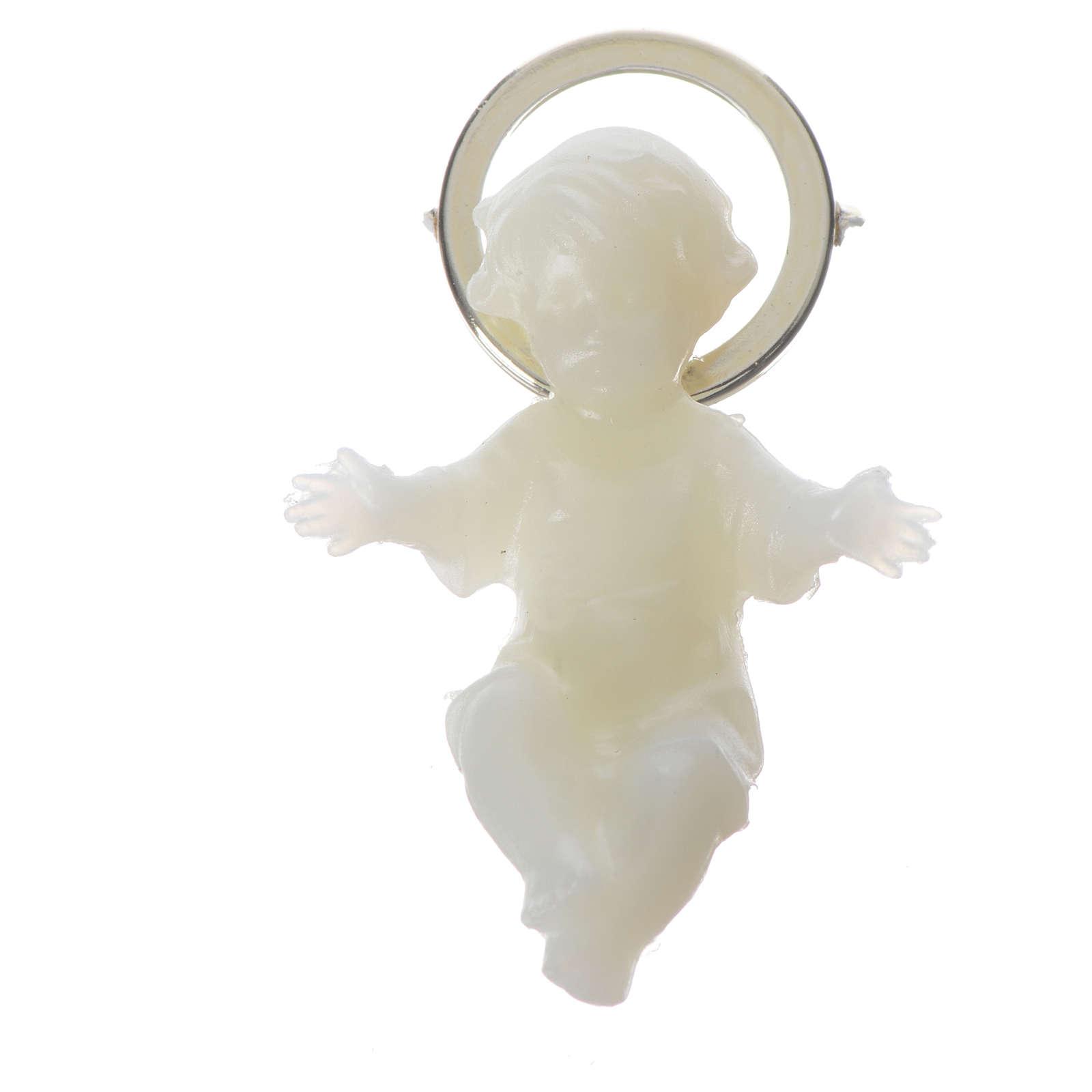 Baby Jesus figurine with glow in the dark golden halo 4 cm 3