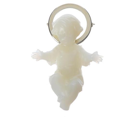 Baby Jesus figurine with glow in the dark golden halo 4 cm 1