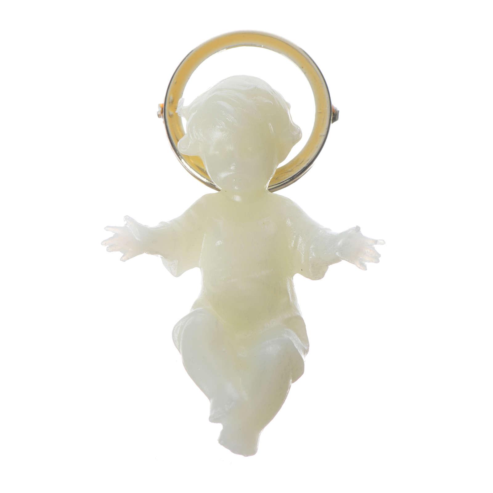 Fluoriszierendes Christkind goldenen Heiligenschein 5cm 3
