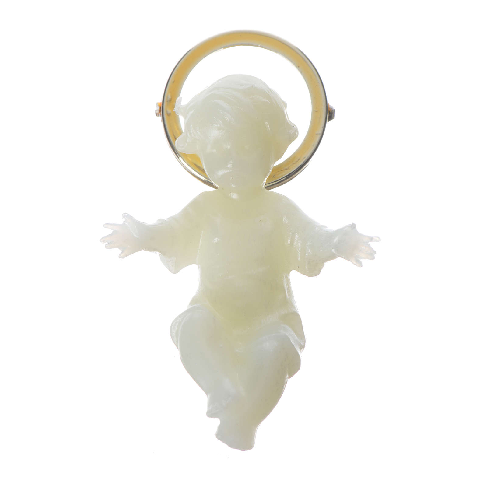 Baby Jesus figurine with glow in the dark golden halo 5cm 3