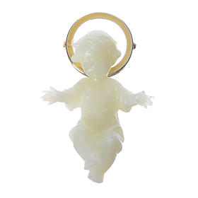 Baby Jesus figurine with glow in the dark golden halo 5cm s1