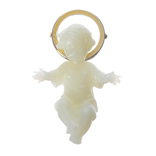 Baby Jesus figurine with glow in the dark golden halo 5cm 1
