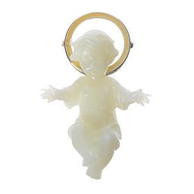 Baby Jesus figurine with glow in the dark golden halo 5 cm s1