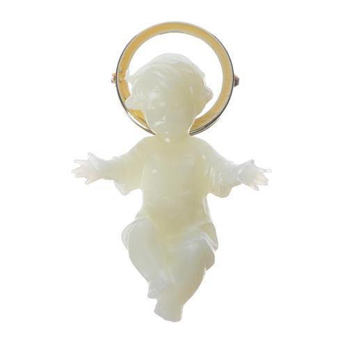 Baby Jesus figurine with glow in the dark golden halo 5 cm 1