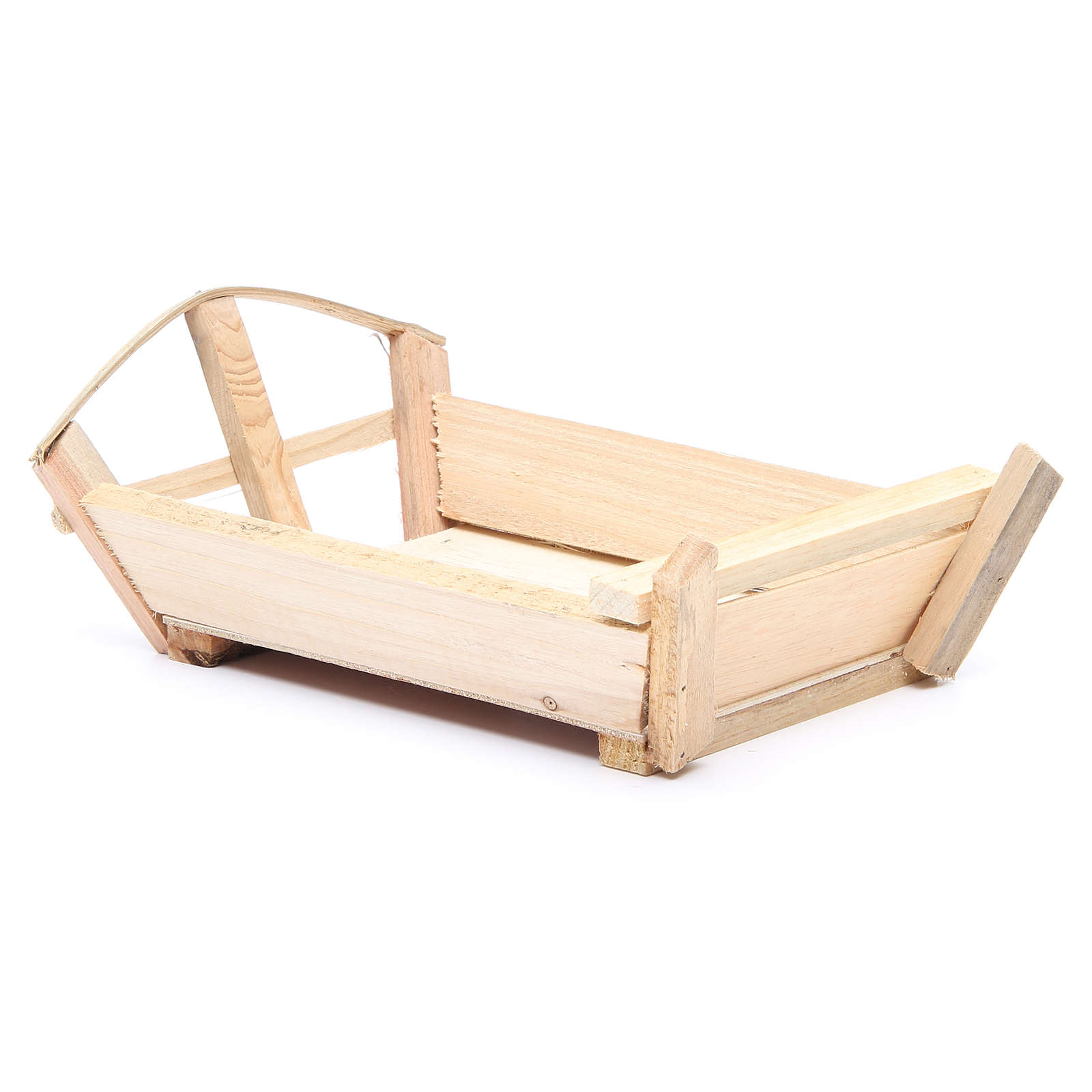 Nativity accessory, cradle in wood for Baby Jesus 10x22x13cm 3