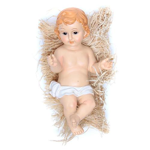 Gesù Bambino statuina poliresina dipinta cm 31 1