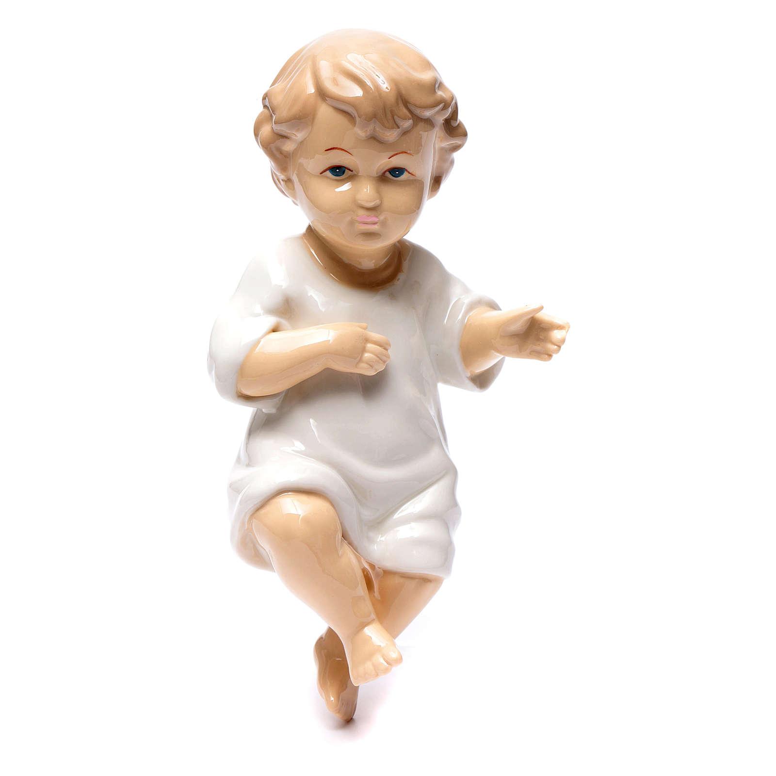 Gesù bambino ceramica lucida 20 cm 3