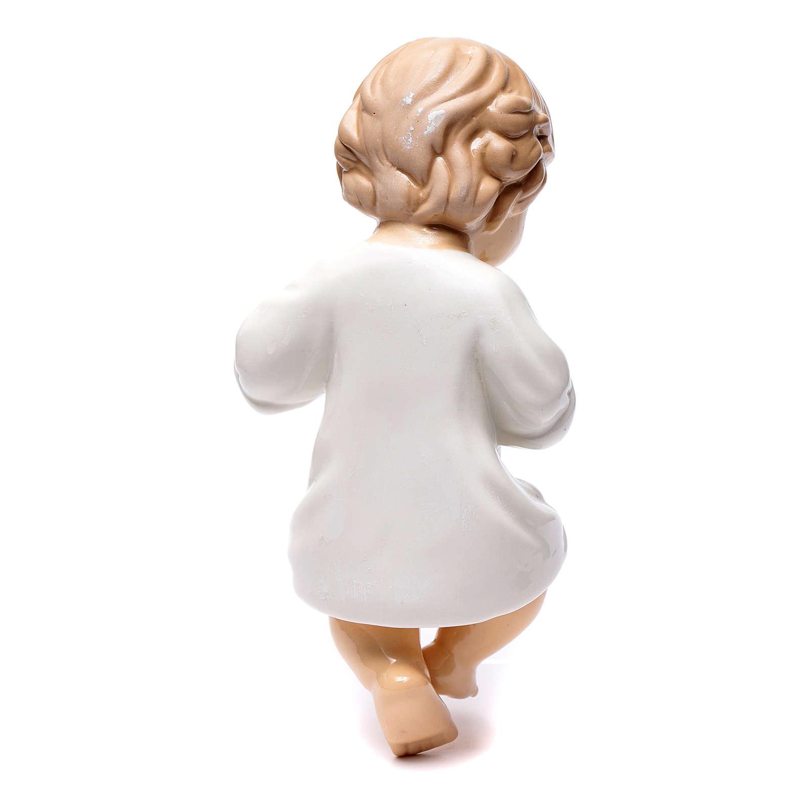 Gesù bambino ceramica lucida 25 cm 3