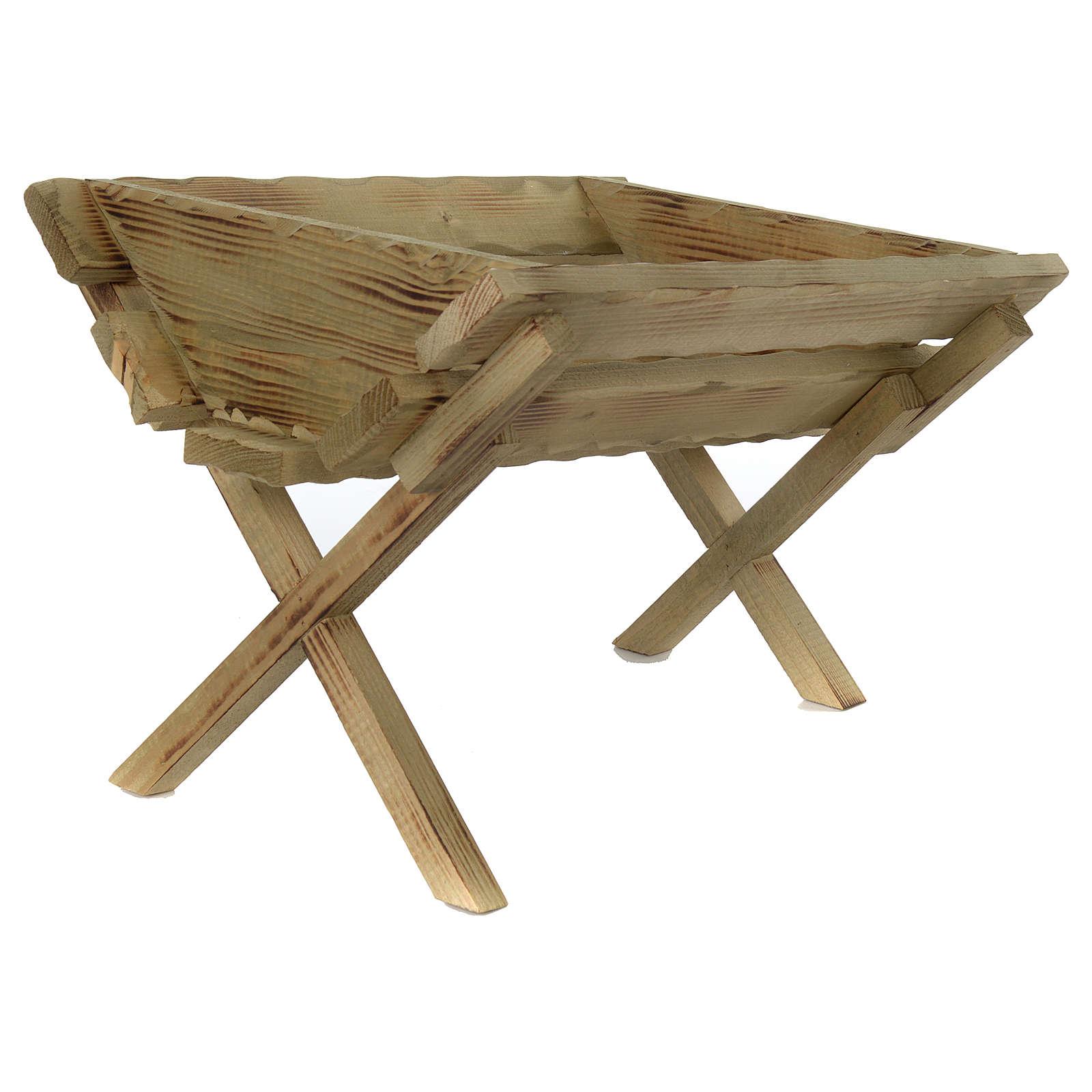 Culla in legno per Gesù Bambino presepe 100 cm 3
