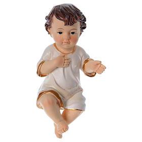 Figuras do Menino Jesus: Menino Jesus roupa branca h real 10 cm em resina