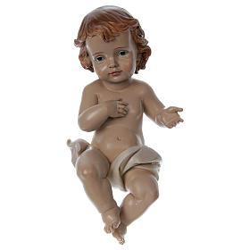 Figuras do Menino Jesus: Bebé menino com pano em resina altura 33 cm