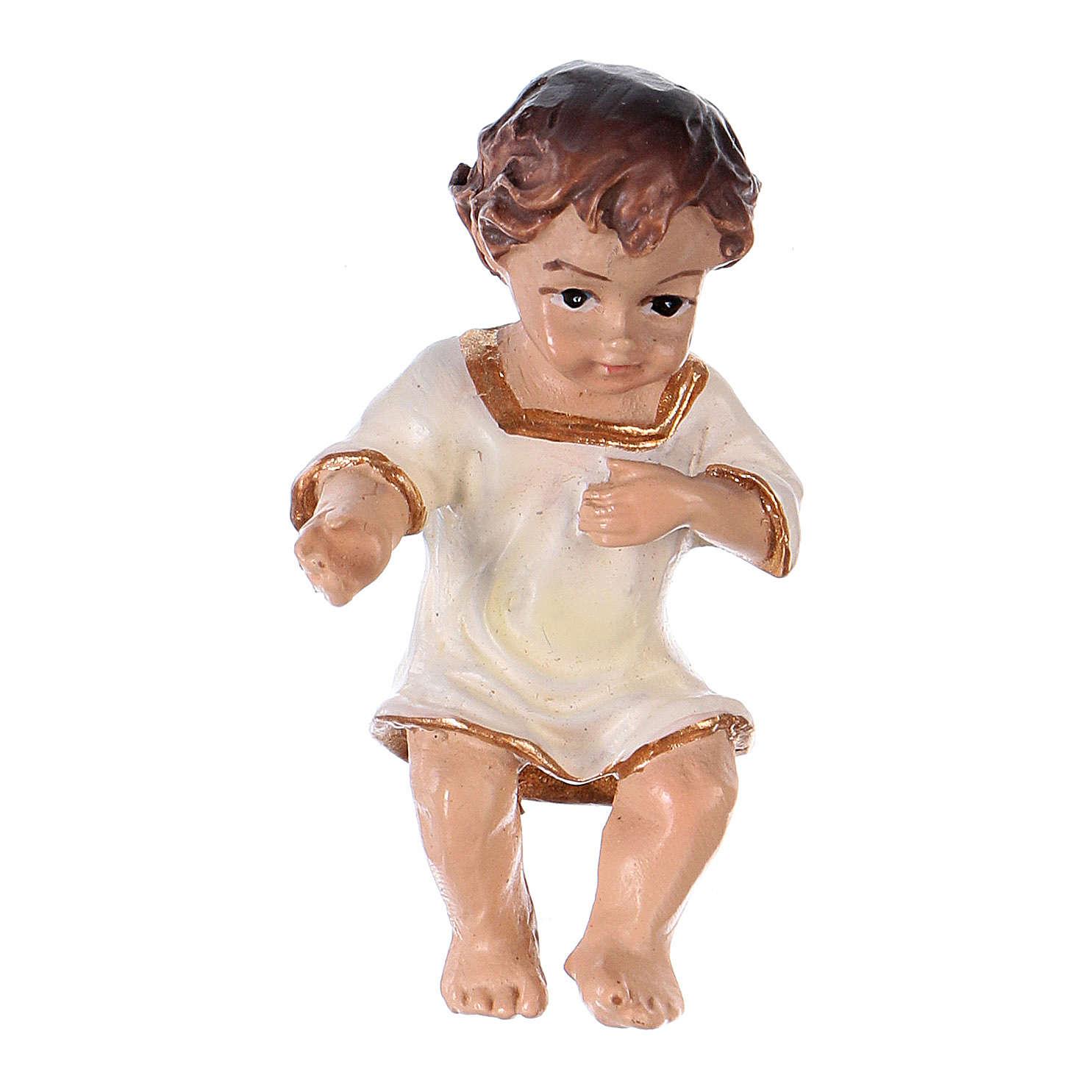 Statua bambinello in vesti bianche h reale 4,5 cm resina 3