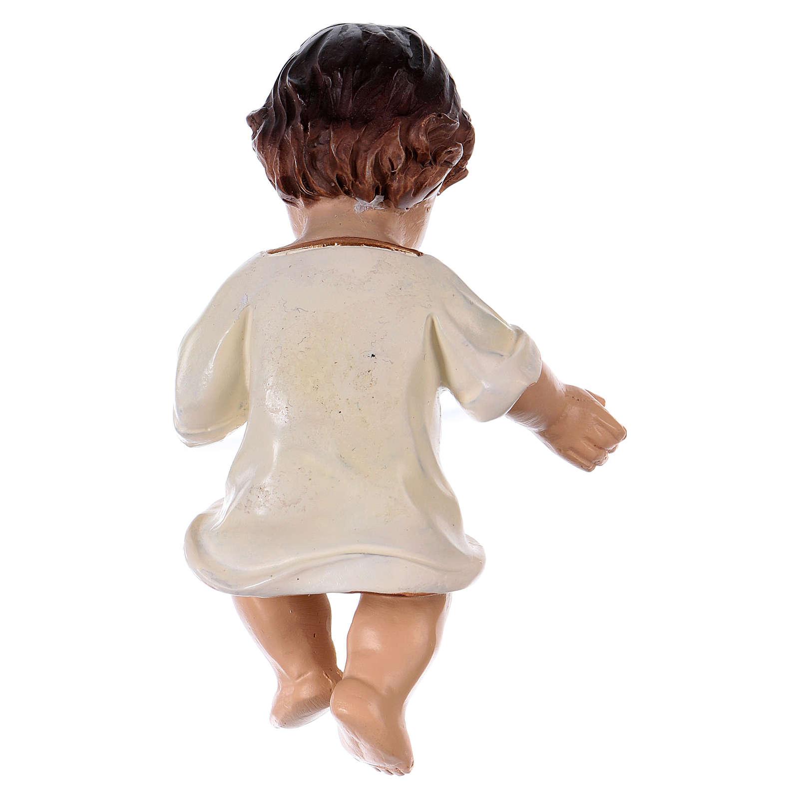 Niño Jesús vestido blanco h. real 10,5 cm resina 3