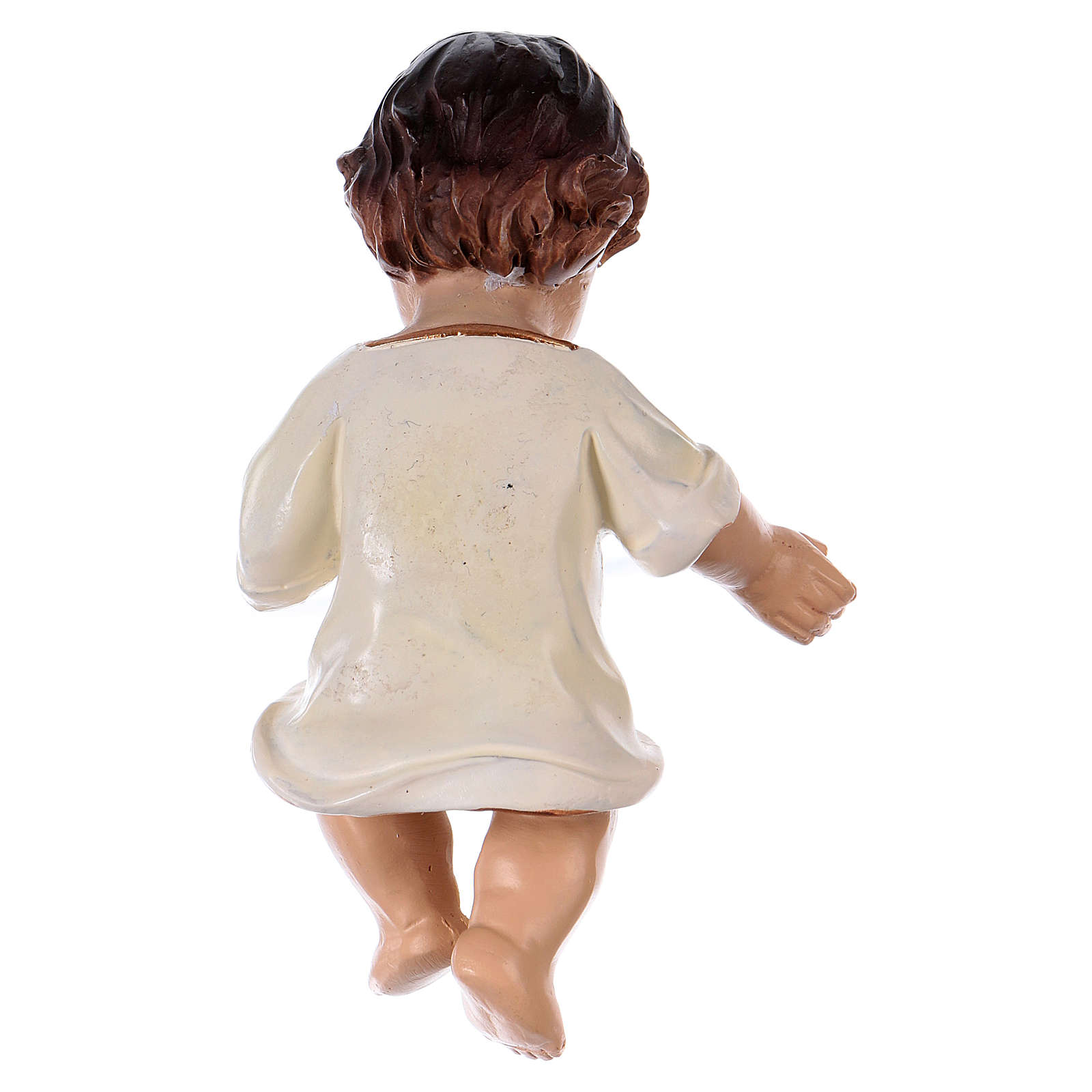 Bambinello veste bianca h reale 10,5 cm resina 3
