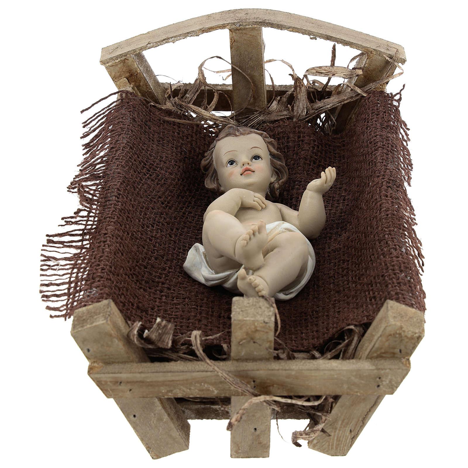 Enfant Jésus résine avec berceau bois h réelle 25 cm 3