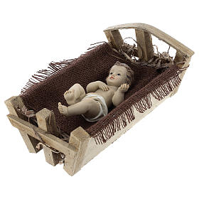 Enfant Jésus résine avec berceau bois h réelle 25 cm s3