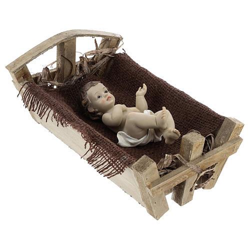 Enfant Jésus résine avec berceau bois h réelle 25 cm 4