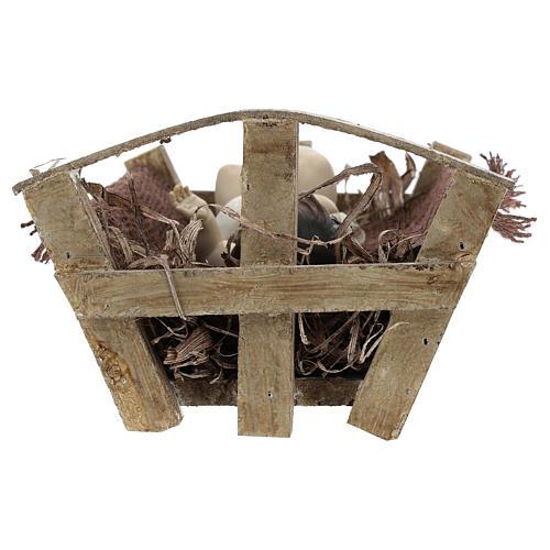Enfant Jésus résine avec berceau bois h réelle 25 cm 5