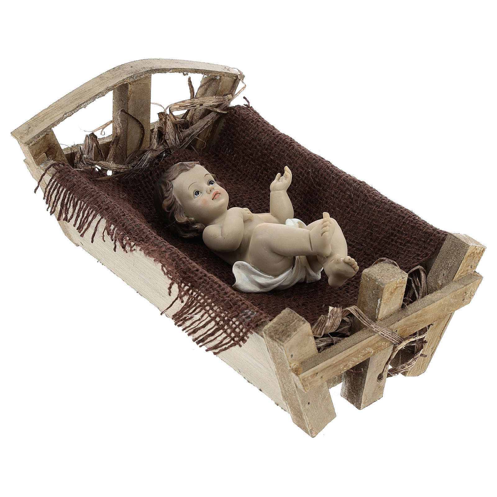 Gesù Bambino resina con culla legno 25 cm (h reale) 3