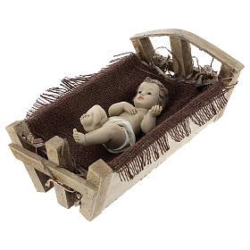 Gesù Bambino resina con culla legno 25 cm (h reale) s3