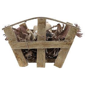 Gesù Bambino resina con culla legno 25 cm (h reale) s5