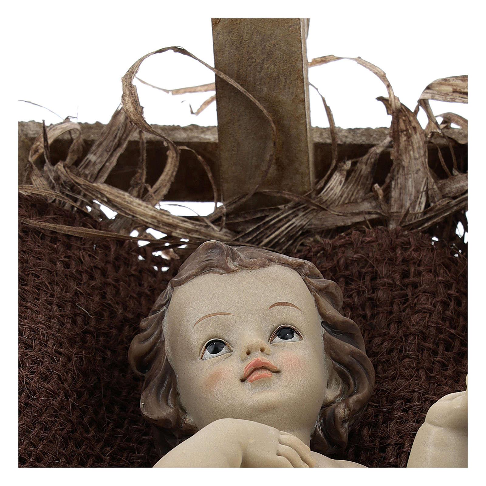 Menino Jesus resina com berço madeira altura real 25 cm 3