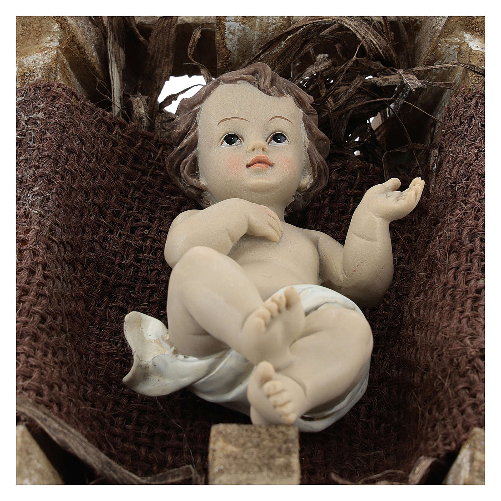 Baby Jesus in resin with wooden cradle 16.5 cm (real height) 3