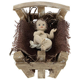 Baby Jesus in resin with wooden cradle 16.5 cm (real height) s1