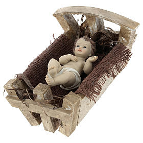 Baby Jesus in resin with wooden cradle 16.5 cm (real height) s3