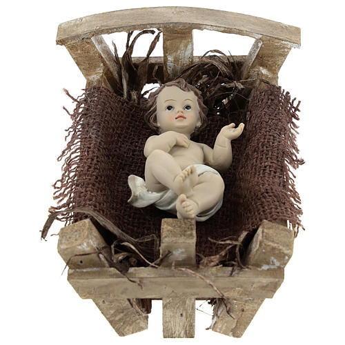 Baby Jesus in resin with wooden cradle 16.5 cm (real height) 1