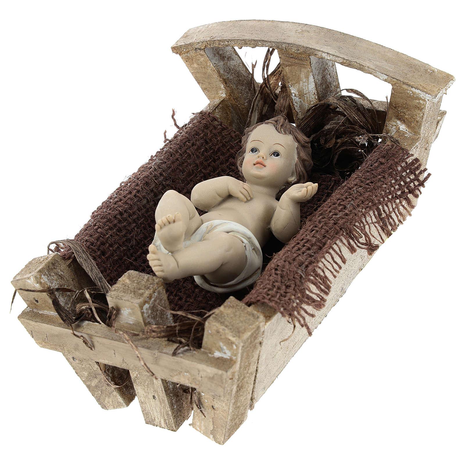 Niño Jesús resina con cuna madera 16 cm (altura real) 3