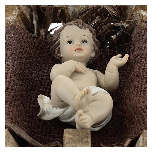 Enfant Jésus résine avec berceau bois h réelle 16 cm 2