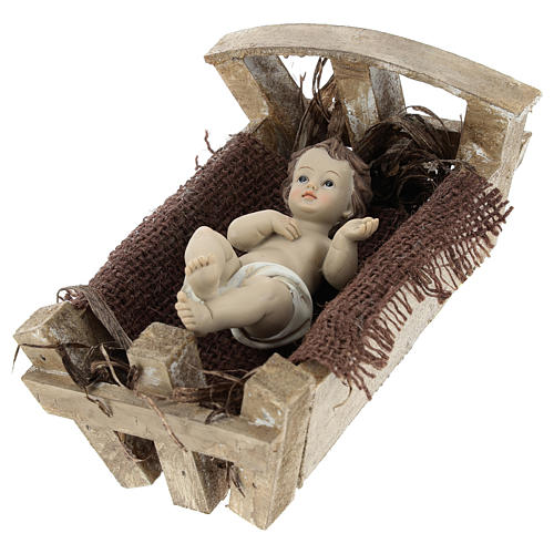 Enfant Jésus résine avec berceau bois h réelle 16 cm 3